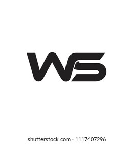 letters ws simple linked design logo vector