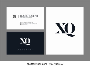 Letters X Q, X & Q joint logo icon with business card vector template.