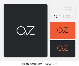 Letters A Z joint logo icon with business card vector template.