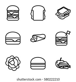 lettuce vector icons. Set of 9 lettuce outline icons such as cabbage, wrap sandwich, sandwich, double burger with flag, double burger, cheeseburger, burger