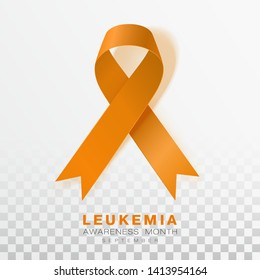 Leukemia Awareness Month. Orange Color Ribbon Isolated On Transparent Background. Vector Design Template For Poster. Illustration.