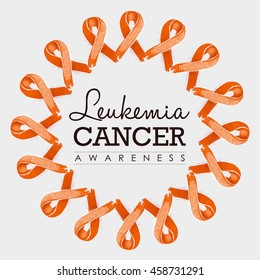 Leukemia cancer awareness typography design with mandala made of orange hand drawn ribbons. EPS10 vector.