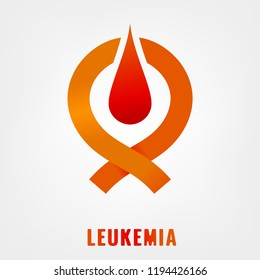 Leukemia icon. Orange ribbon and blood drop in flat style isolated on a white background. Leukaemia disease awareness symbol. Editable vector illustration. Medical, scientific and healthcare concept.
