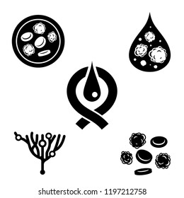 Leukemia icons set. Black pictograms in flat style isolated on a white background. Leukaemia disease awareness symbols. Editable vector illustration. Medical, scientific and healthcare concept.