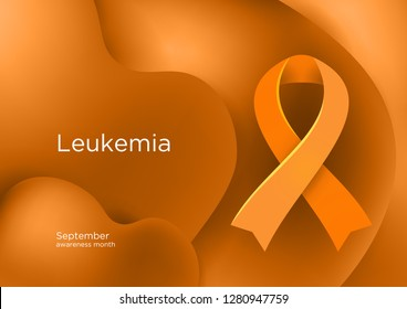 Leukemia or Leukaemia awareness month in September. Orange color ribbon Cancer Awareness Products. Vector illustration.