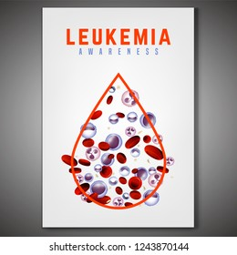 Leukemia vertical poster in bright colors. White and red blood cells in realistic style. Leukaemia disease awareness. Editable vector illustration. Medical, scientific and healthcare concept.