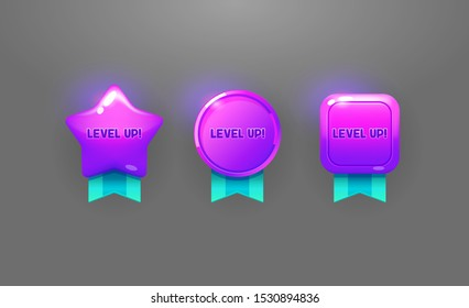 Level up award medals with ribbons 3d design elements. Game level successful complete isolated cliparts collection. Winner prize glowing purple badges pack. Online arcade game rewards for app UI