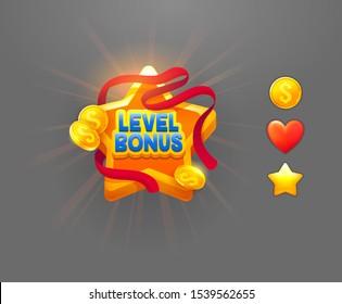 Level bonus reward flat vector badge illustration. Online game UI isolated design element. Golden star with red ribbon, coins and heart icons on grey background. Achievement reward cartoon symbol