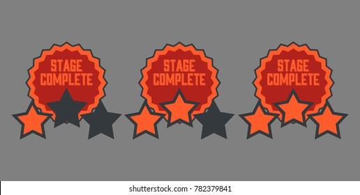 Level complete badges vector set