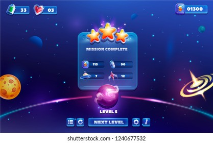 Level complete space Game UI kit.