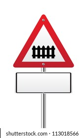 Level crossing with barrier or gate ahead road sign