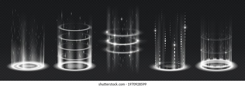 Level up effect. Realistic teleportation portal. Light aura and glowing hologram. White energy circles and rays on transparent background. Innovation technology. Vector teleports set