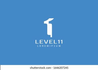 level eleven logo, letter logo L, 1, and 1 vector line art illustration