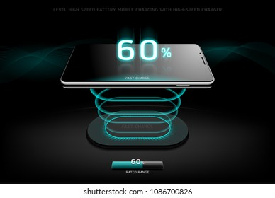 The Level Fast Charging Smartphone wireless charging design style on Black background, vector concept illustration, eps10.