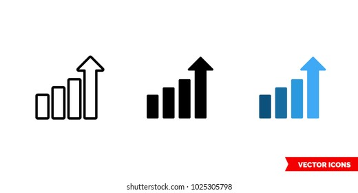 Level icon of 3 types: color, black and white, outline. Isolated vector sign symbol.