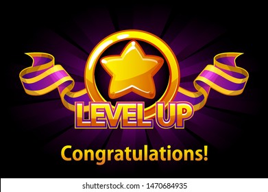 Level UP icon, game screen. Vector illustration with golden star and puple award ribbon. Graphical user interface GUI to build 2D games. Casual Game. Can be used in mobile or web game.