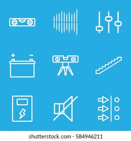 level icons set. Set of 9 level outline icons such as stairs, level ruler, no sound, equalizer, battery, adjust