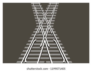 level junction railroad/railroad crossing simple illustration
