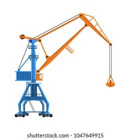 Level luffing harbor crane. Vector illustration isolated on white background