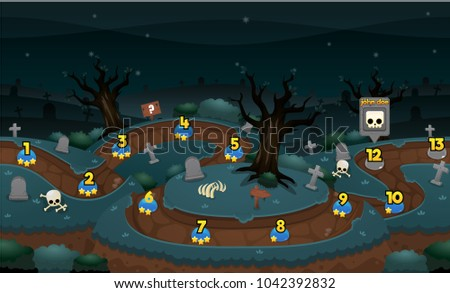 Level Map Pack With Halloween And Scary Graveyard Theme For Puzzle Games