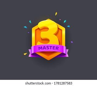 Level up reward cartoon vector illustration.Badges shields of rating icons for mobile game UI. Vector Emblem trophy concept. Vector clip art shape for logo, pentagram icon for decoration ranking award
