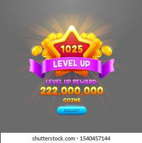 Level up reward flat vector badge illustration. Online casino web banner with collect coins button. Golden star with violet ribbon isolated on grey background. Mobile game UI cartoon design element