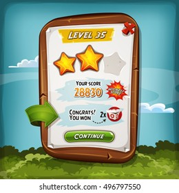 Level Score Board With Bonus For Game Ui/ Illustration of a funny cartoon design wood score board, with medicine kit bonus and golden stars, for game ui and apps on tablet pc