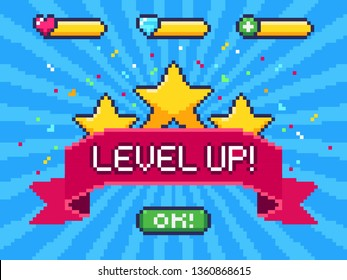 Level Up screen. Pixel video game achievement, pixels 8 bit games ui and gaming level progress. Arcade games achievements or pixelation gaming trophy vector illustration