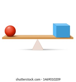 Lever with box and ball. simple machines by Archimedes. lever is a machine consisting of a beam or rigid rod pivoted at a fixed hinge or fulcrum. Vector illustration for education and science use