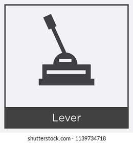 Lever icon isolated on white background with gray frame, sign and symbol