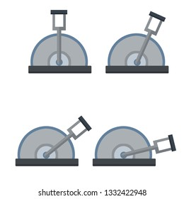 Lever to increase the speed of the mechanism. The control of the car. Automatic technology. Set of grey levers in several positions-basic, small, medium, maximum. Cartoon flat illustration
