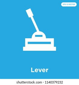 Lever vector icon isolated on blue background, sign and symbol, Lever icons collection