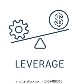 Leverage at Dollar. Financial technology. Vector linear icon, on white background.