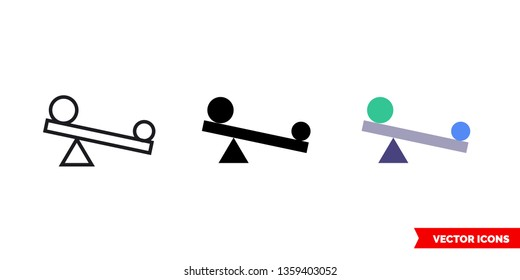 Leverage icon of 3 types: color, black and white, outline. Isolated vector sign symbol.