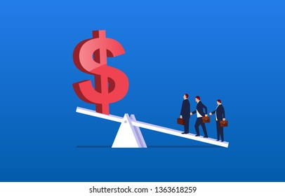 Leverage principle, three businessmen stand on the seesaw to raise the dollar