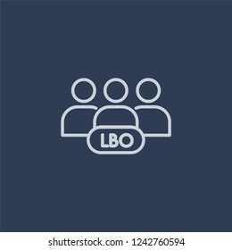 Leveraged buyout icon. Trendy flat vector line Leveraged buyout icon on dark blue background from Business  collection.