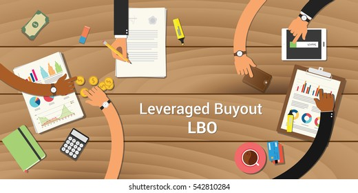 leveraged buyout illustration team work together with a hand working together on top of wooden table work on paperwork document graph chart