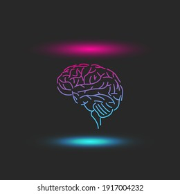 Levitating human brain abstract with blue-pink bright shadows and highlights, futuristic artificial intelligence cyberpunk illustration.