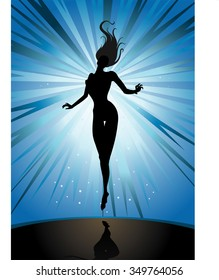 Levitating Woman-Fantasy themed of a lady silhouette floating on the mid-air