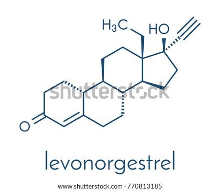 levonorgestrel contraceptive pill drug molecule skeletal stock