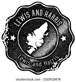 Lewis and Harris map vintage black stamp. Retro style handmade island label, badge or element for travel souvenirs. Vector illustration.