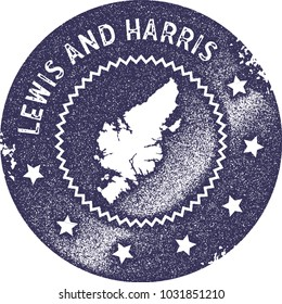 Lewis and Harris map vintage deep purple stamp. Retro style handmade island label, badge or element for travel souvenirs. Vector illustration.