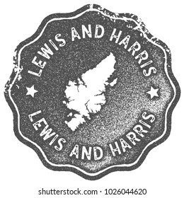 Lewis and Harris map vintage grey stamp. Retro style handmade island label, badge or element for travel souvenirs. Vector illustration.