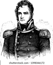 Lewis Warrington 1782 to 1851 he was an officer in the United States navy vintage line drawing or engraving illustration