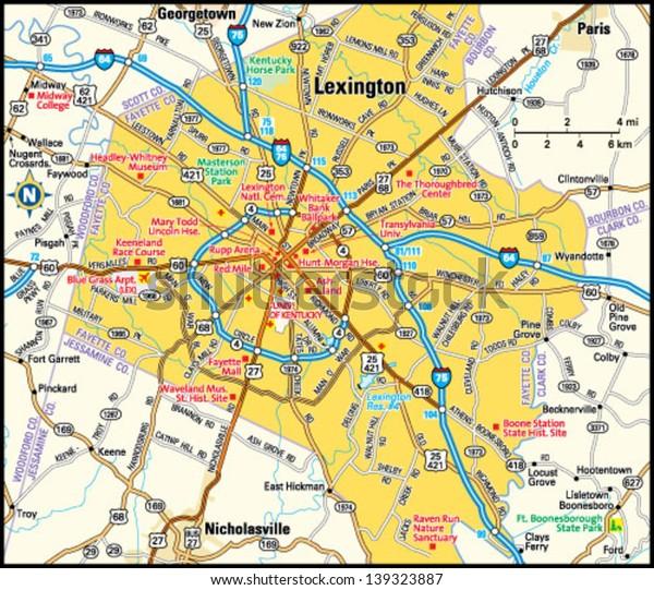 Lexington Kentucky Area Map Stock Vector (Royalty Free ...