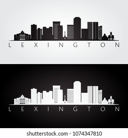Lexington USA skyline and landmarks silhouette, black and white design, vector illustration.