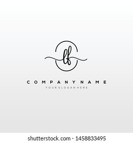 LF handwriting initial logo template vector.