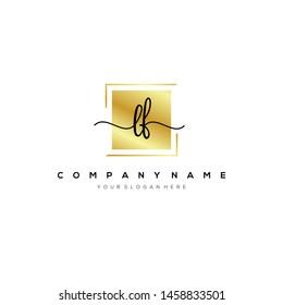 LF handwriting initial logo template vector.