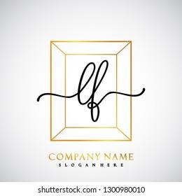 LF Initial Handwriting logo template vector