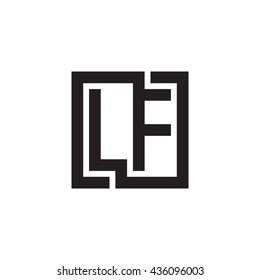 LF initial letters looping linked square monogram logo